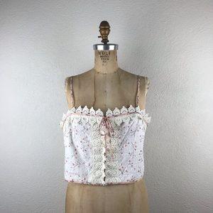 BCBGeneration l Antique White Floral Lace Crop Top